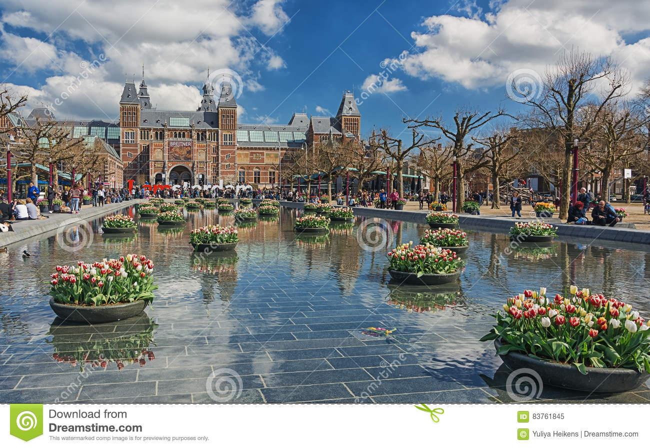 Planters Filled With Tulips In The Pond During The Tulip