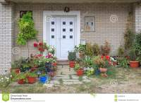 Plants Entrance stock image. Image of pots, home ...