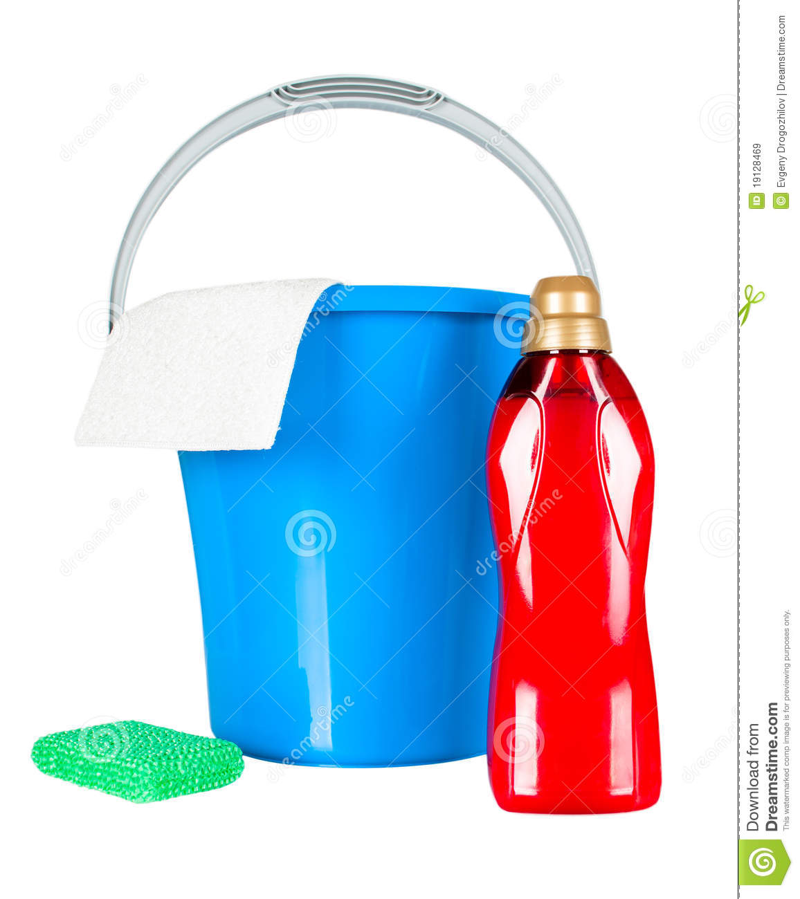 Plastic Bucket With Cleaning Supplies Royalty Free Stock Images - Image: 19128469