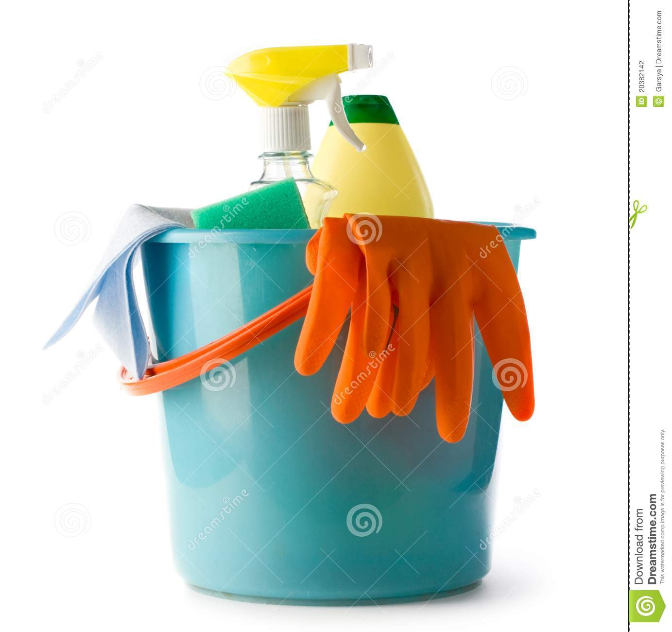 Plastic Bucket With Cleaning Supplies Stock Photo - Image of cleaning. fabric: 20382142