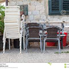 How To Fix Broken Plastic Chair Folding Covers Cheap Chairs Stacked Up And Unused Stock Images