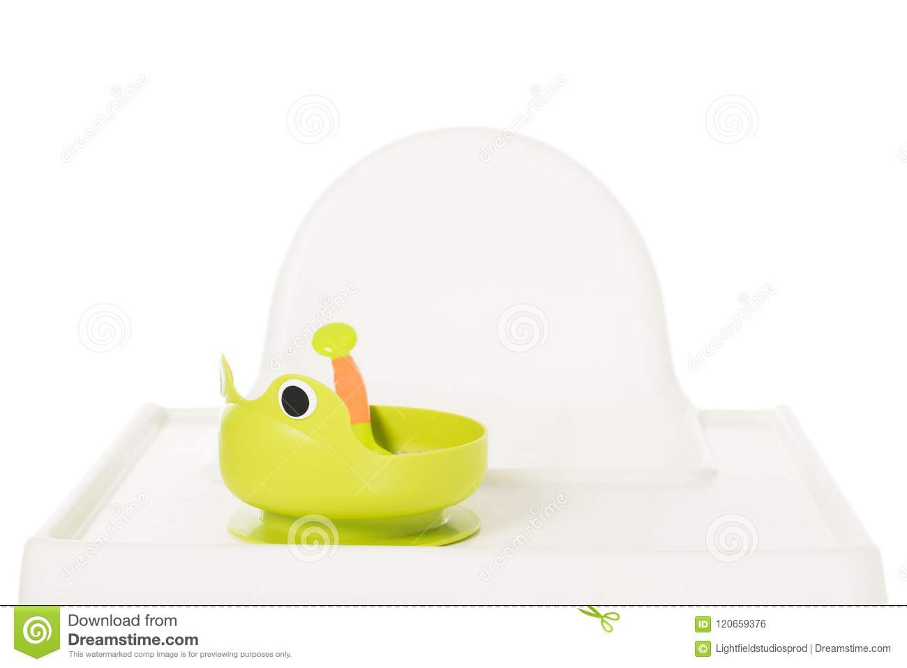 z shaped high chair sofa loveseat set plate in form of frog with baby food on highchair stock photo