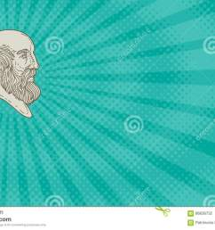business card showing mono line style illustration of the greek philosopher plato head viewed from the side  [ 1300 x 870 Pixel ]