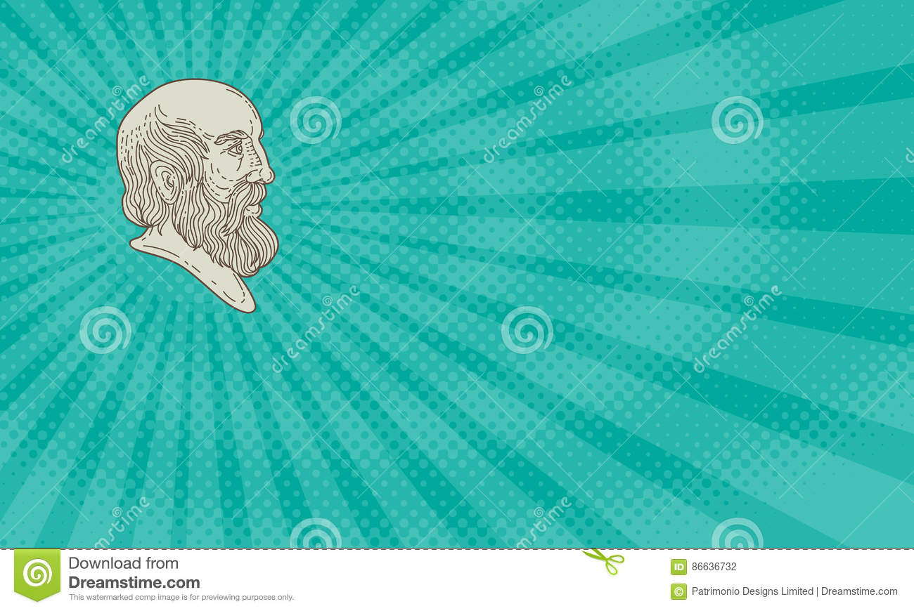 hight resolution of business card showing mono line style illustration of the greek philosopher plato head viewed from the side