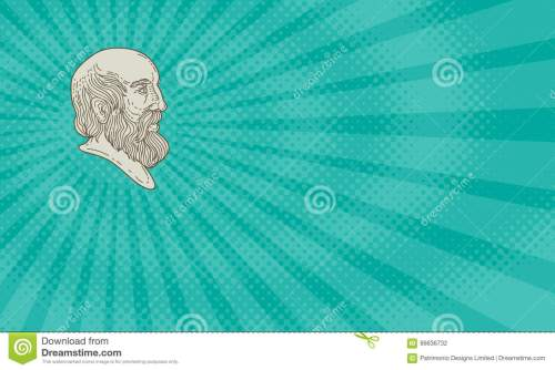 small resolution of business card showing mono line style illustration of the greek philosopher plato head viewed from the side