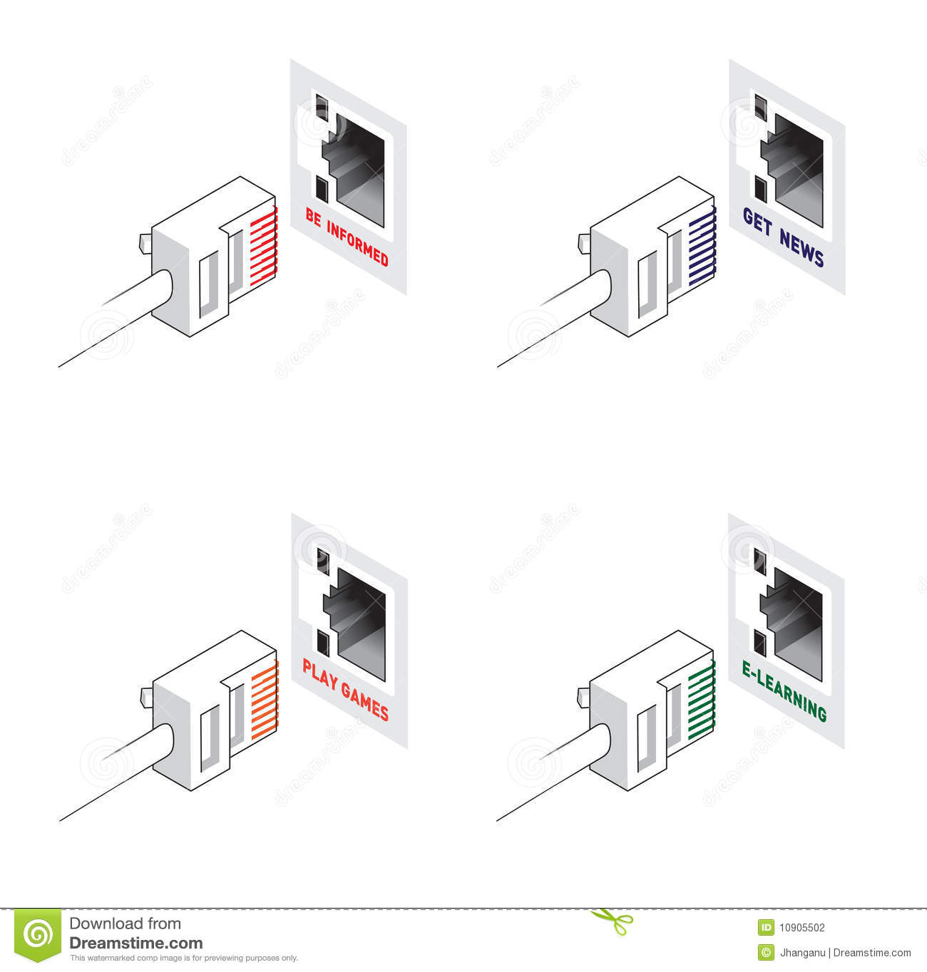 Play Games, Elearning, Get News, Be Infomed Vector Stock