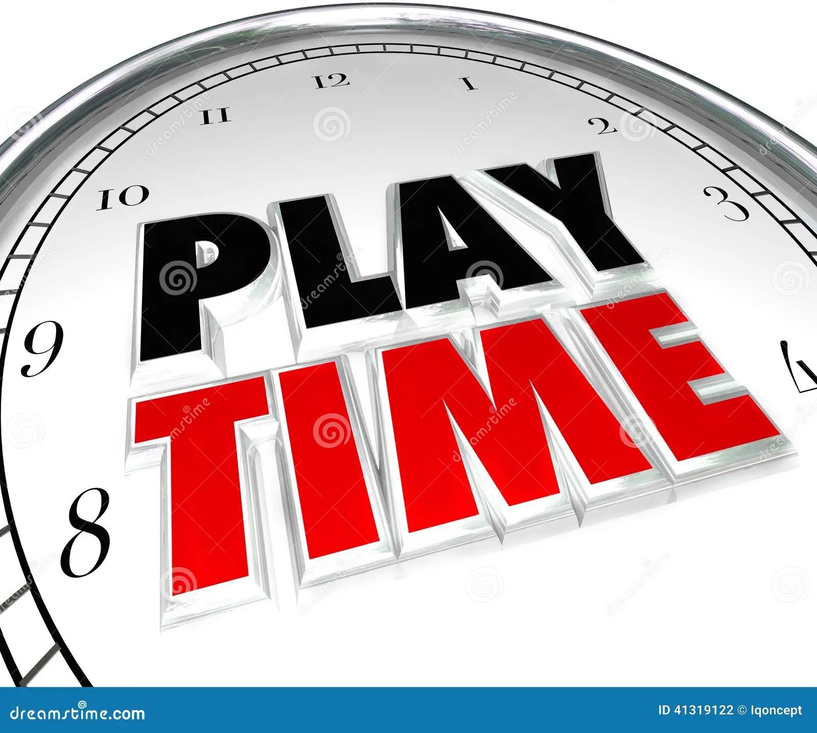 Play Time Clock Fun Recreation Recess Sports Activity Stock Illustration