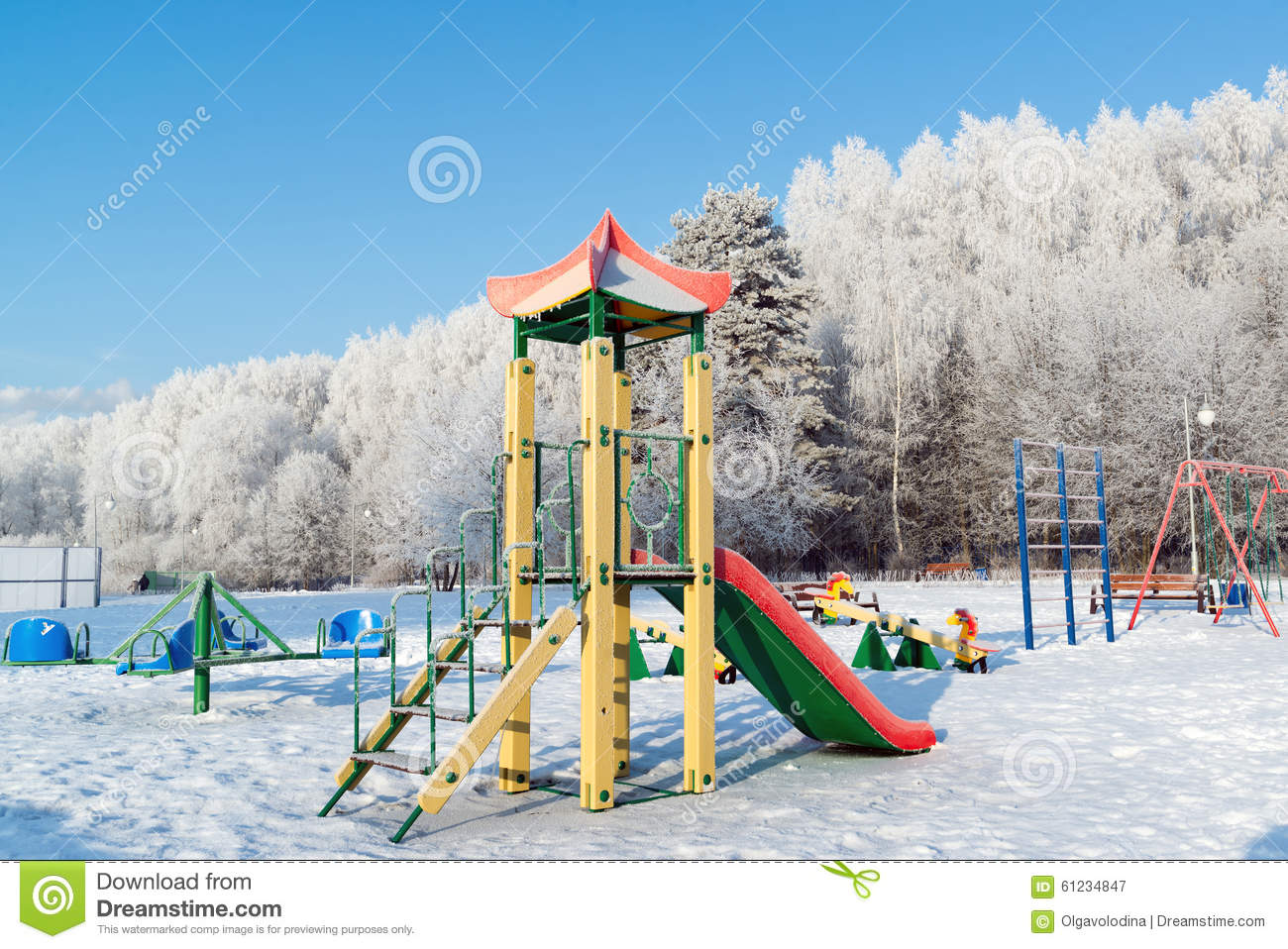 Rutsche Clipart Playground Structure Outdoors In Winter Stock Photo