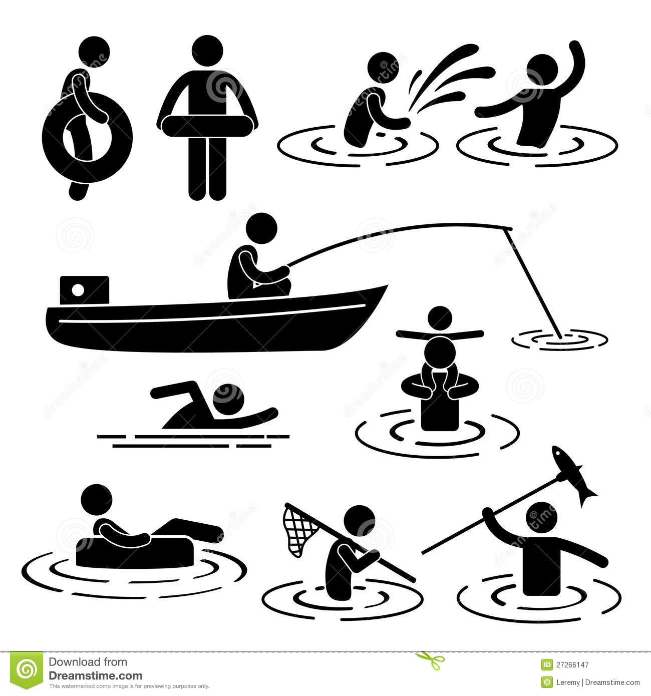 Playing At River And Water Stock Vector Illustration Of
