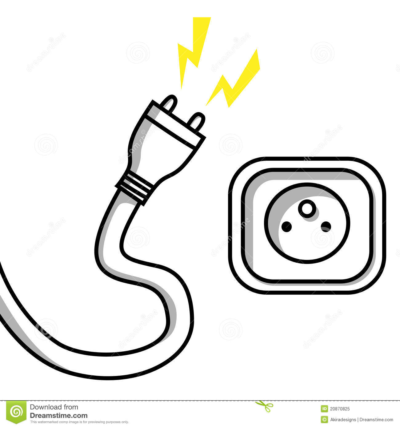 hight resolution of illustration of an unplugged cable and a socket