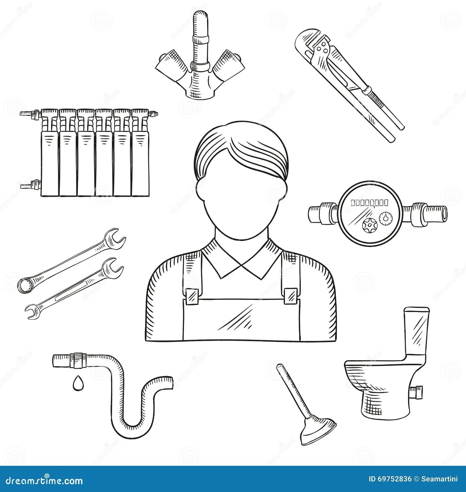 Plumber Man And Sanitary Engineering Stock Vector