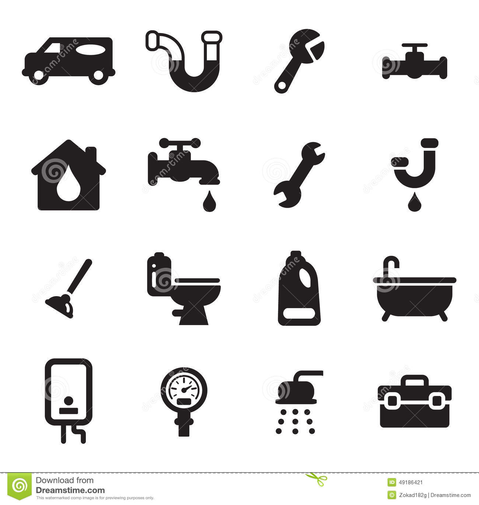 Plumbing Icons Stock Vector