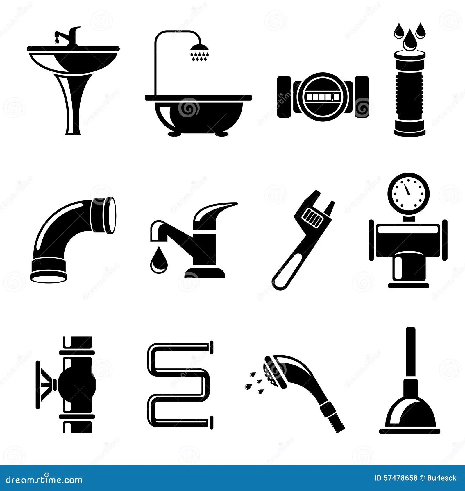 Plumbing Icons Stock Vector Image 57478658