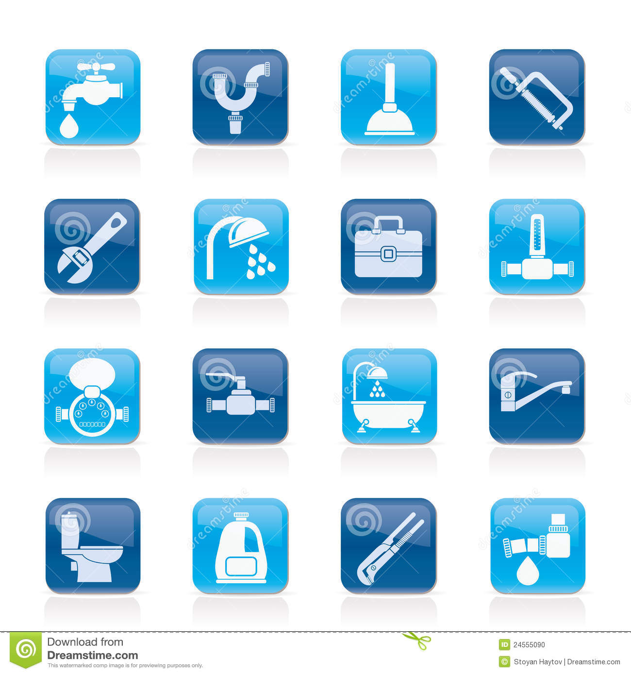 Plumbing Objects And Tools Icons Stock Photo Image 24555090