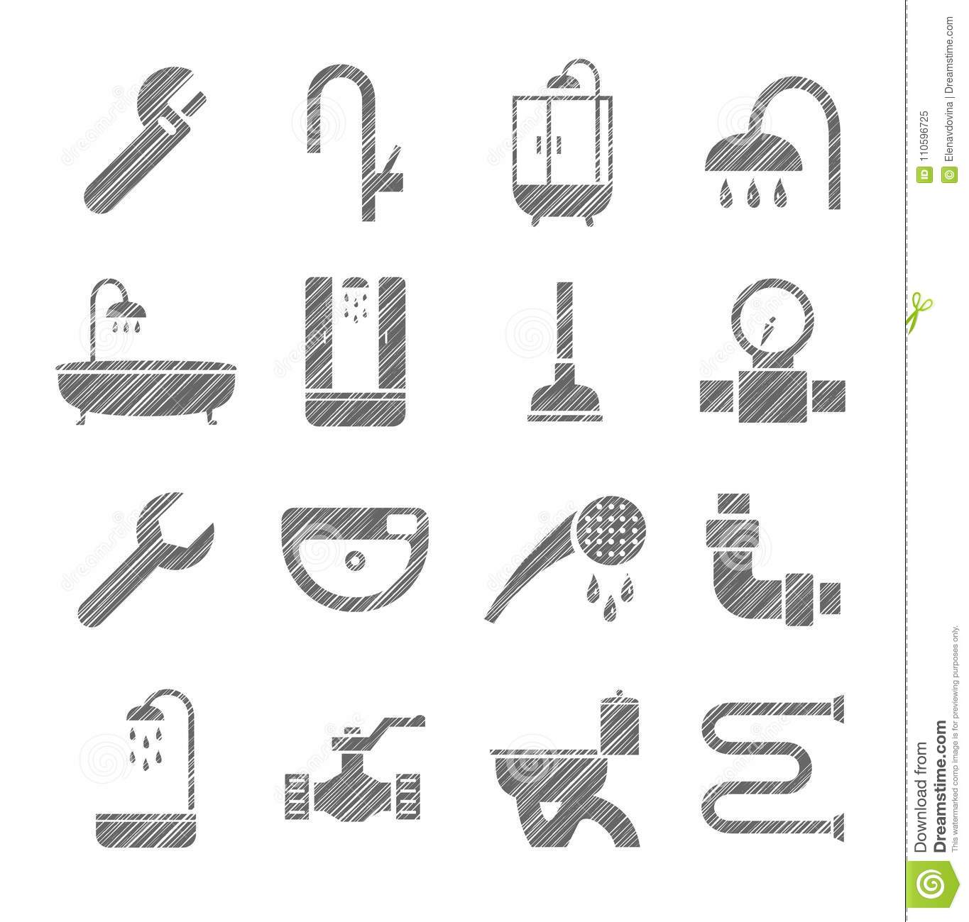 Plumbing And Running Water Icons Monochrome Pencil