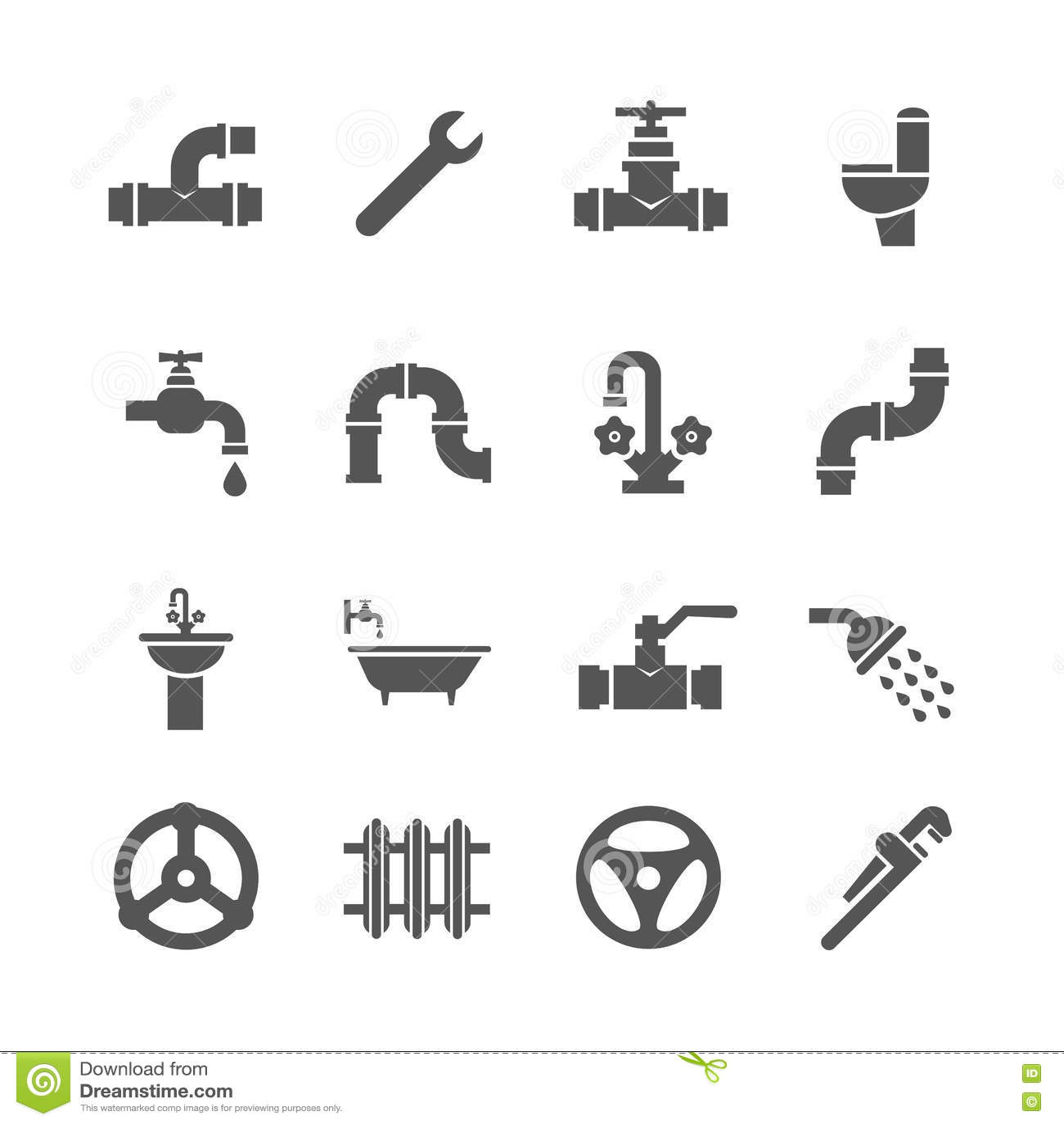 Plumbing Service Objects Tools Bathroom Sanitary