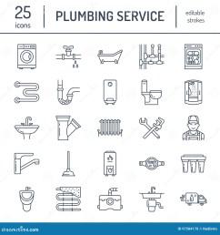 plumbing service vector flat line icons house bathroom equipment faucet toilet pipeline washing machine dishwasher plumber repair illustration  [ 1300 x 1390 Pixel ]