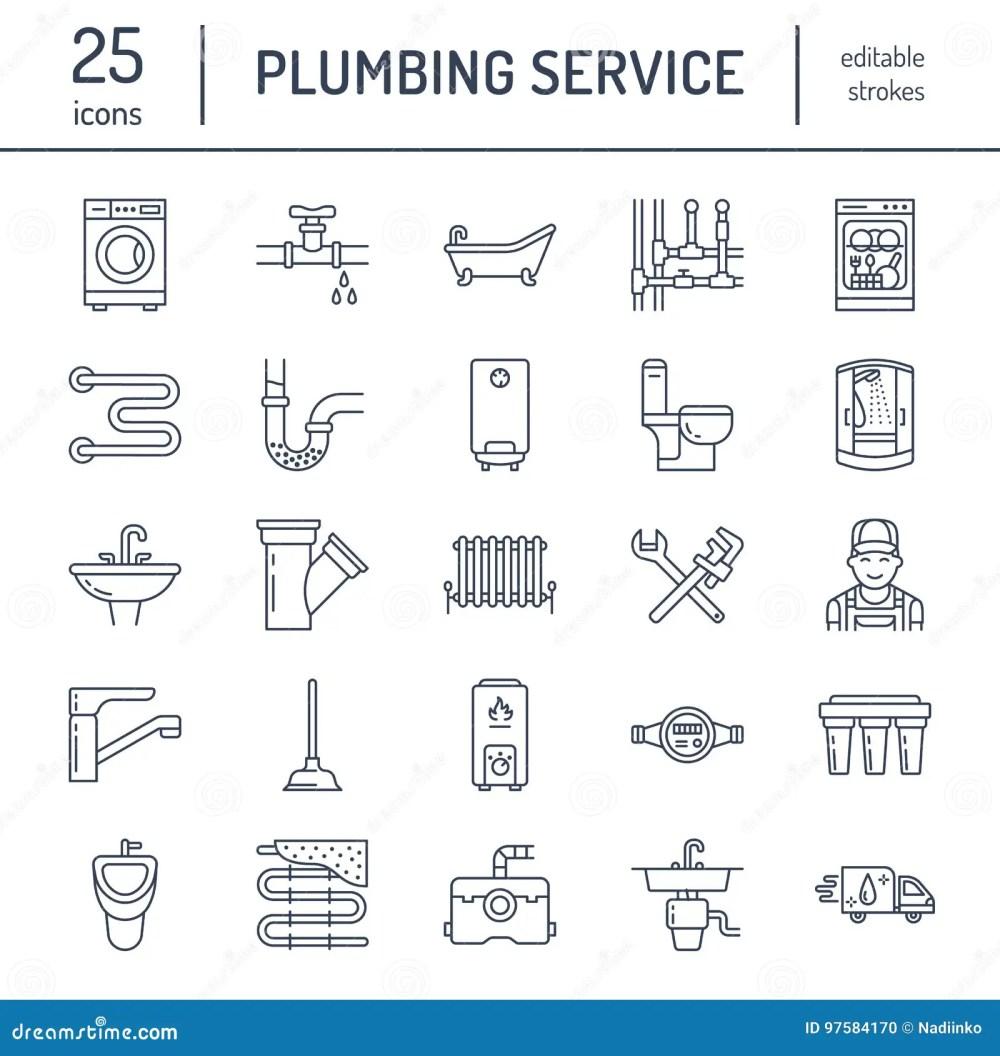 medium resolution of plumbing service vector flat line icons house bathroom equipment faucet toilet pipeline washing machine dishwasher plumber repair illustration