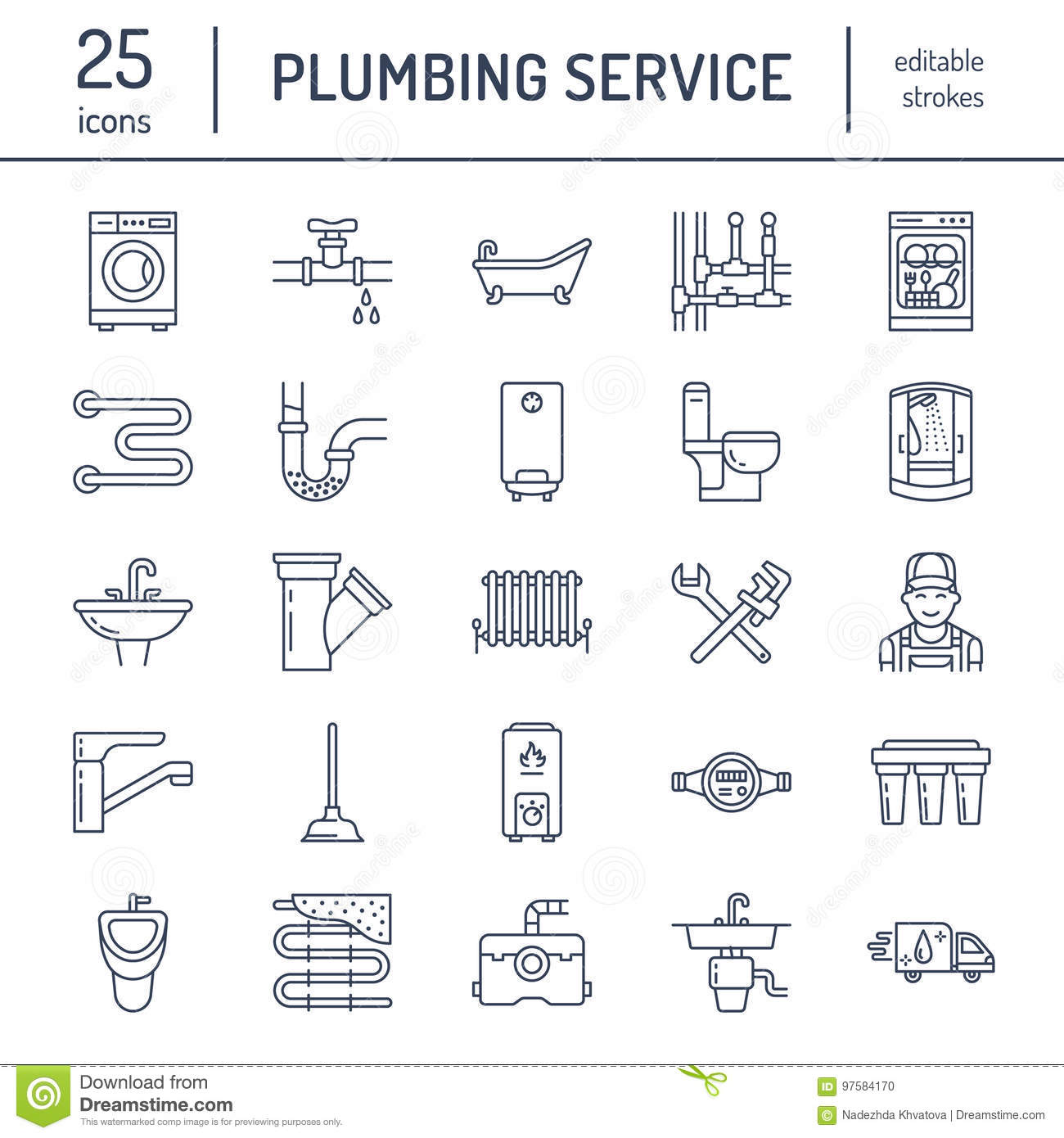 hight resolution of plumbing service vector flat line icons house bathroom equipment faucet toilet pipeline washing machine dishwasher plumber repair illustration