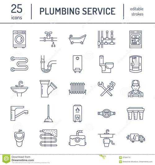small resolution of plumbing service vector flat line icons house bathroom equipment faucet toilet pipeline washing machine dishwasher plumber repair illustration