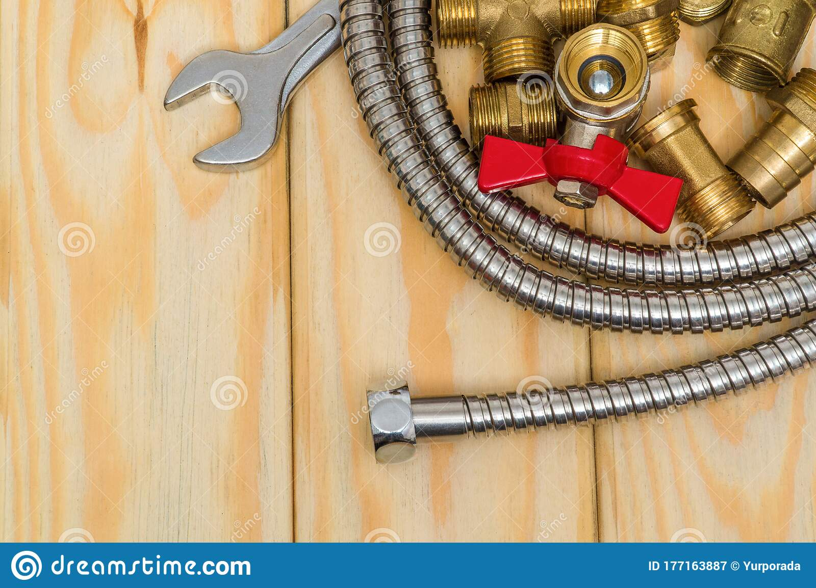 plumbing spare parts faucet tool and hose on wooden boards are used to replace or repair stock image image of tool tools 177163887