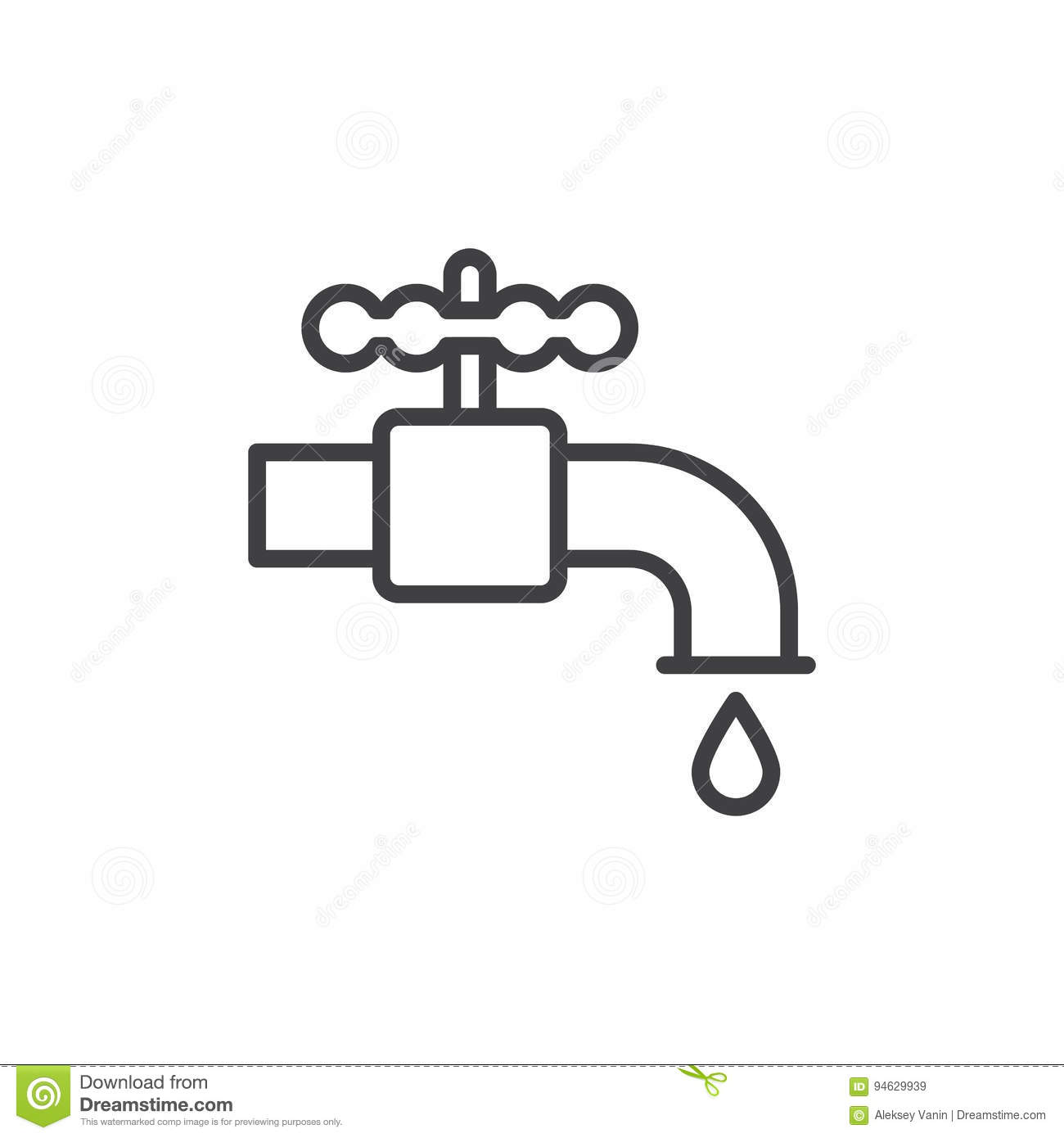 Plumbing Water Tap Line Icon Outline Vector Sign Linear