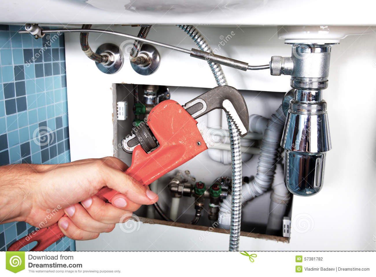 Plumbing Work And Sanitary Engineering Stock Photography