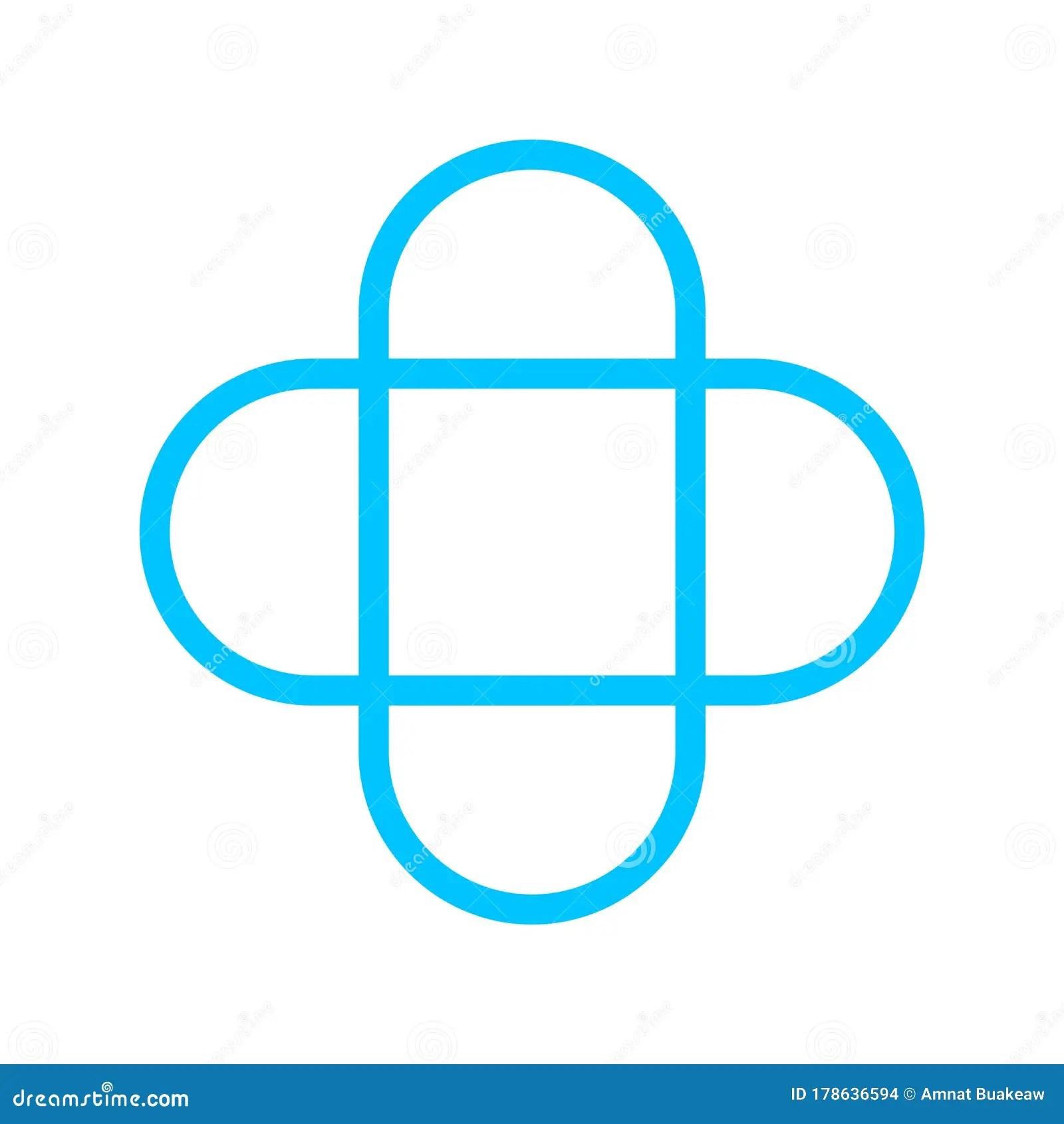 Plus Sign Stroke Line Blue Color For Button Cross Sign