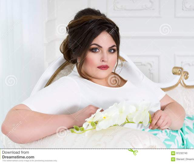 With Red Spots Plus Size Fashion Model Fat Woman On Luxury Interior Overweight Female Body Professional