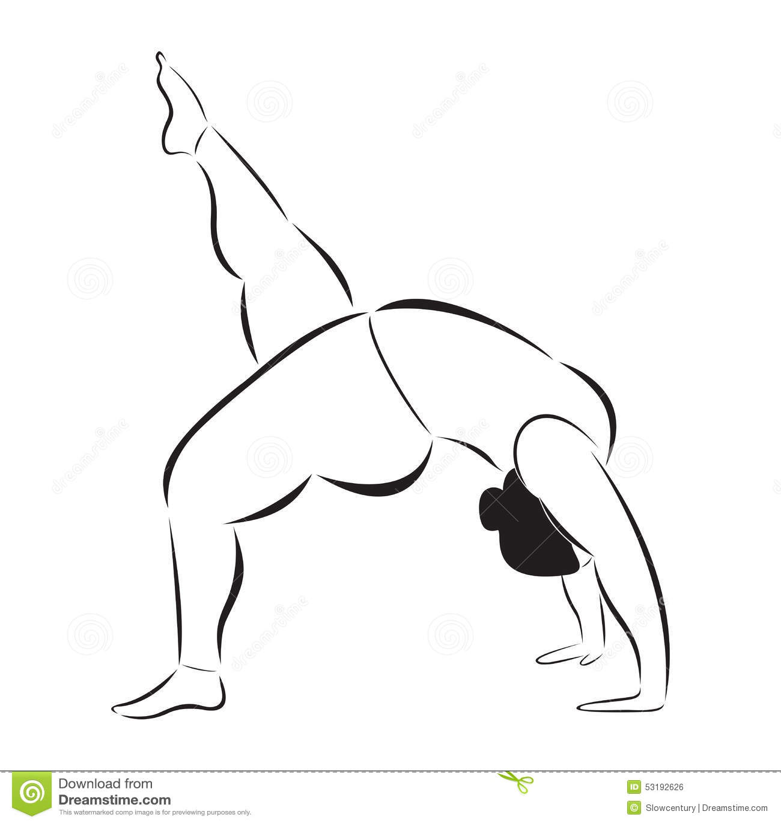 Plus Size Sporty Woman Doing Yoga Stock Vector
