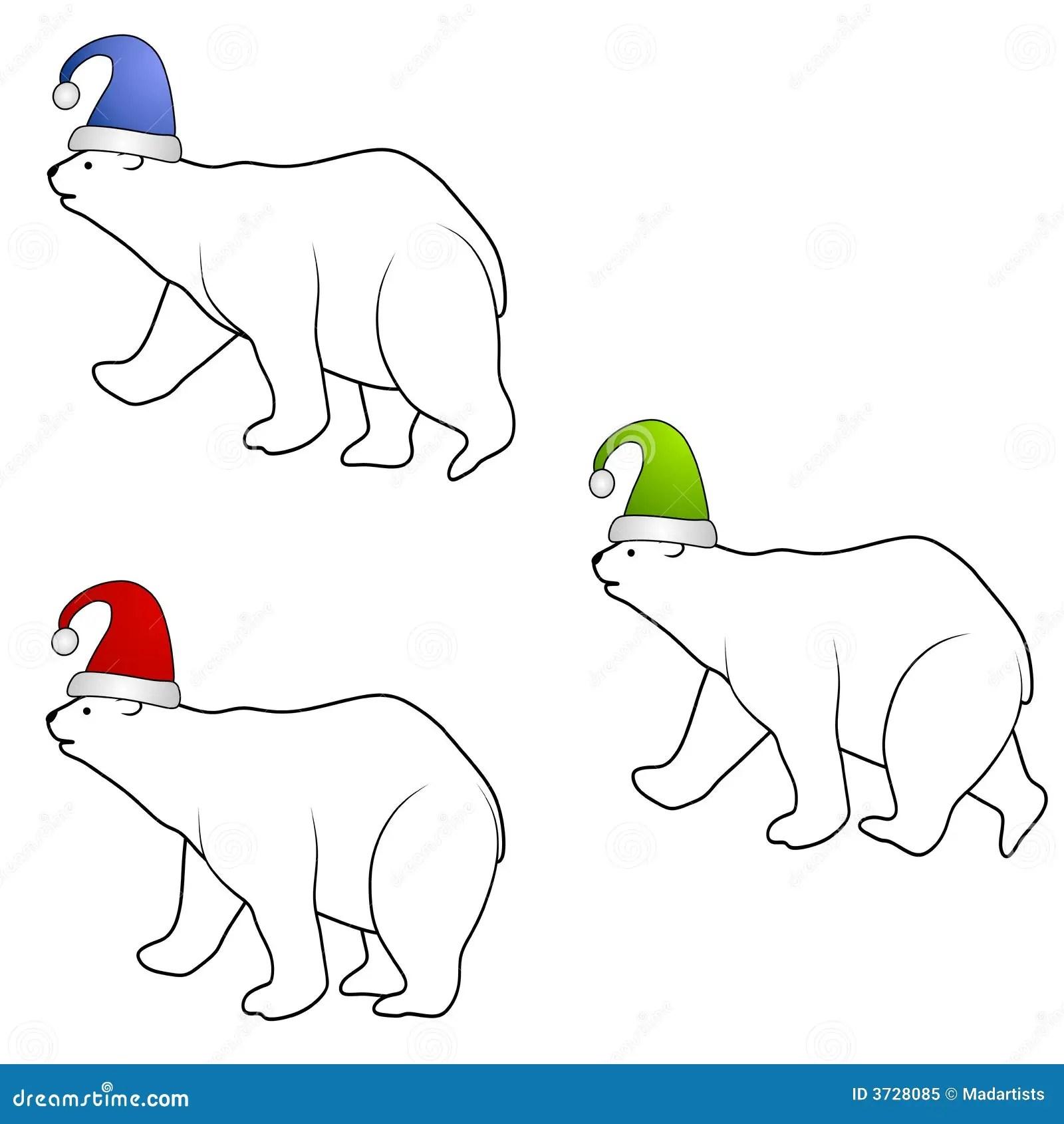 Polar Bears Wearing Santa Hats Stock Illustration