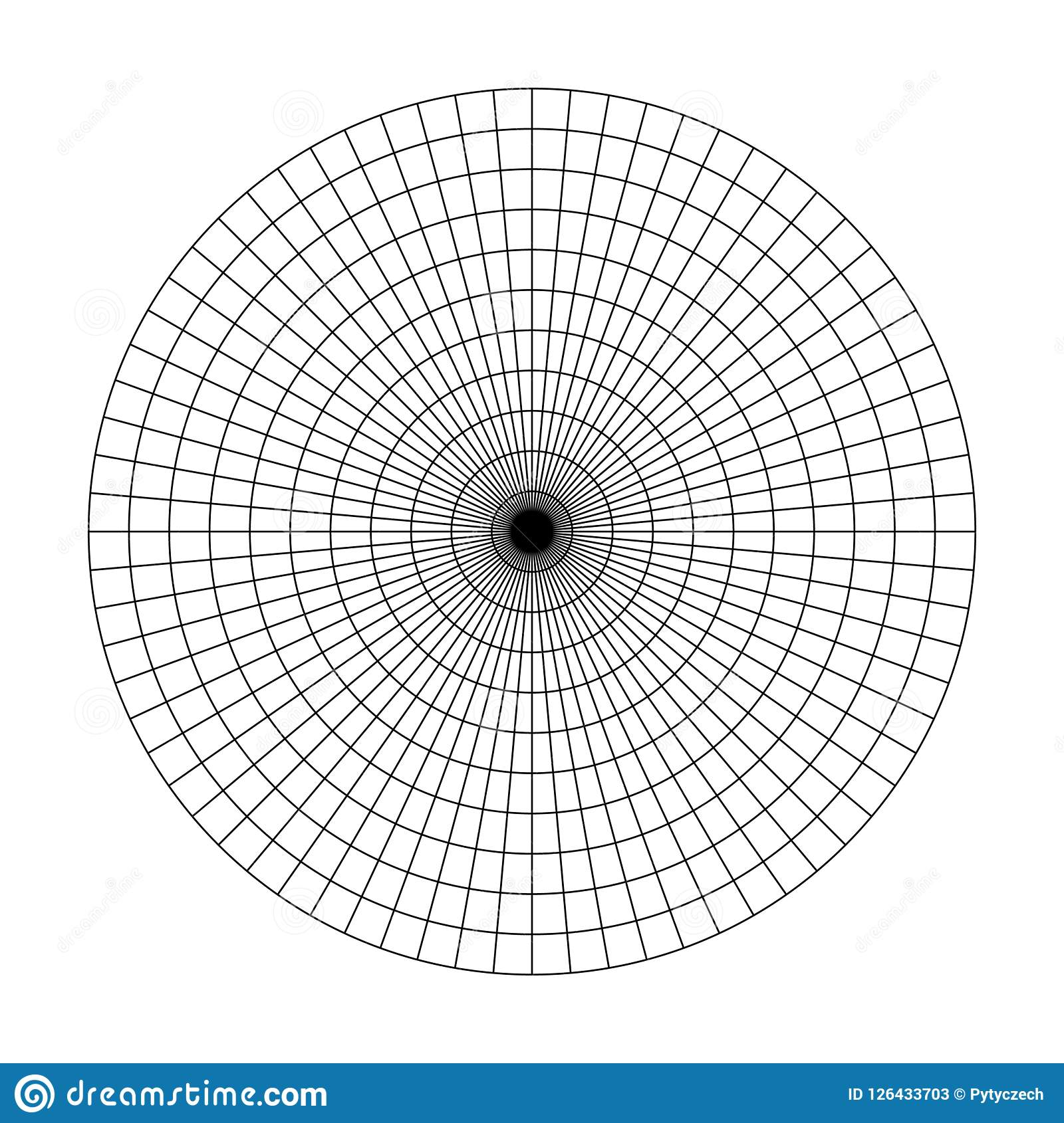 Polar Grid Of 10 Concentric Circles And 5degrees Steps