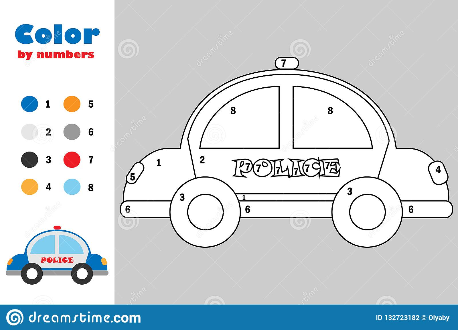 Police Car In Cartoon Style Color By Number Education Paper Game For The Development Of