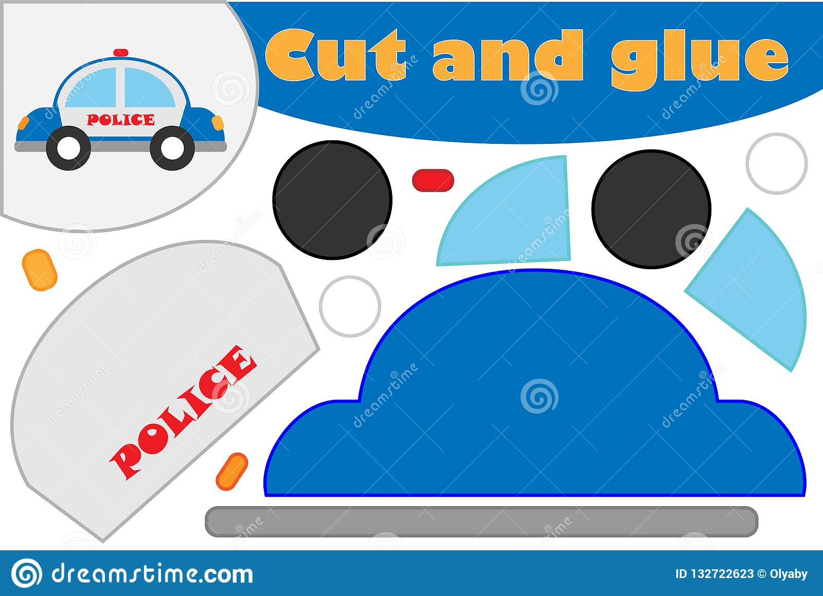 Police Car In Cartoon Style Education Game For The