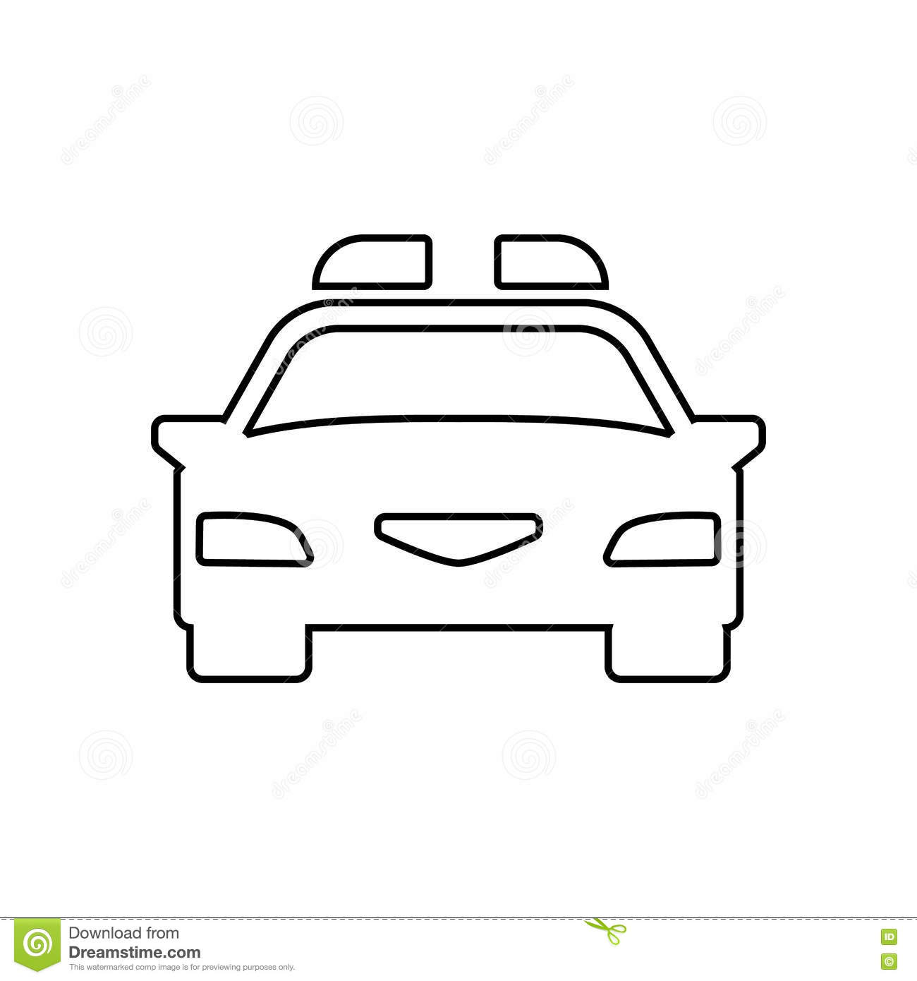 Police Car Outline Icon Linear Vector Illustration Stock