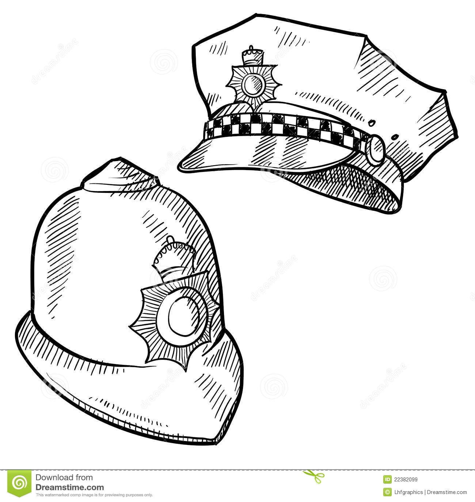 Police Hats Sketch Stock Vector Illustration Of Gangster
