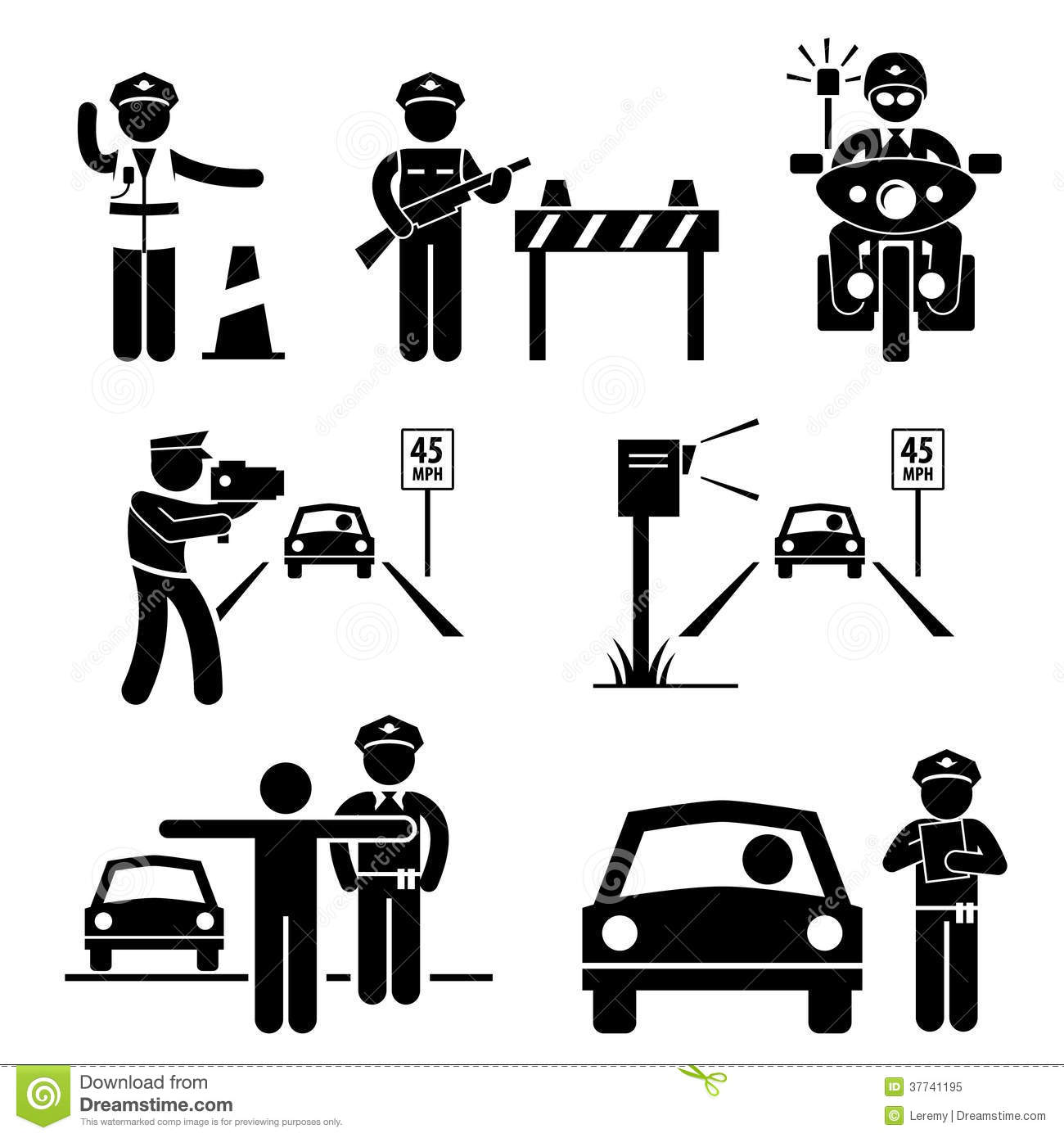 Police Officer Traffic On Duty Pictogram Icon Royalty Free