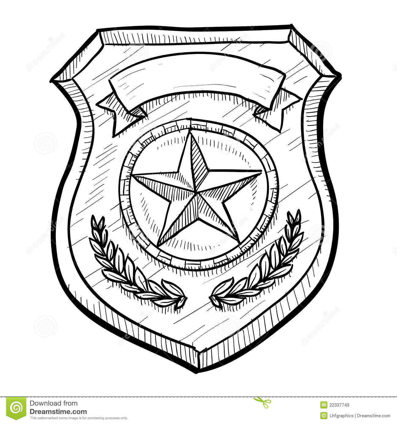 Police Or Security Badge Sketch Stock Vector