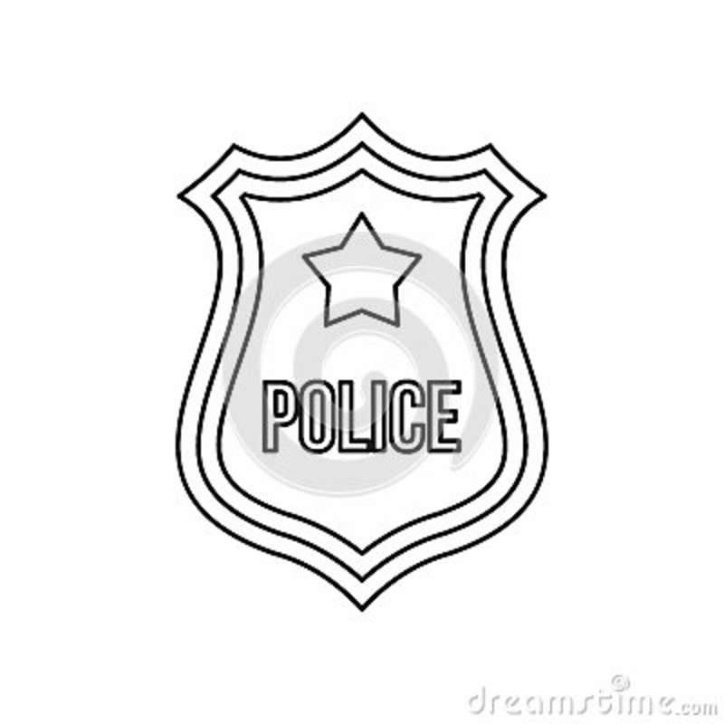 Police Officer Badge Icon In Outline Style Isolated On ... on