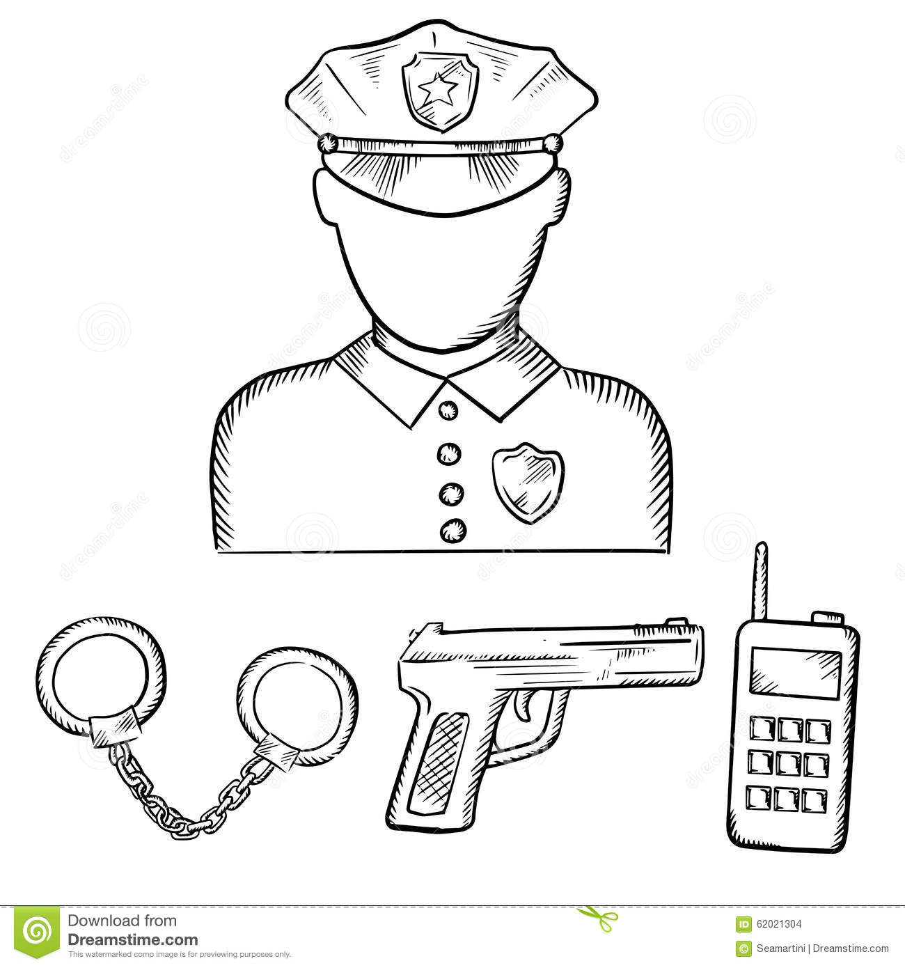 Policeman With Handcuffs And Gun Sketches Stock Vector