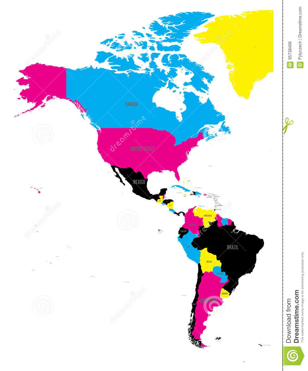 Political Map Of Americas In Cmyk Colors On White