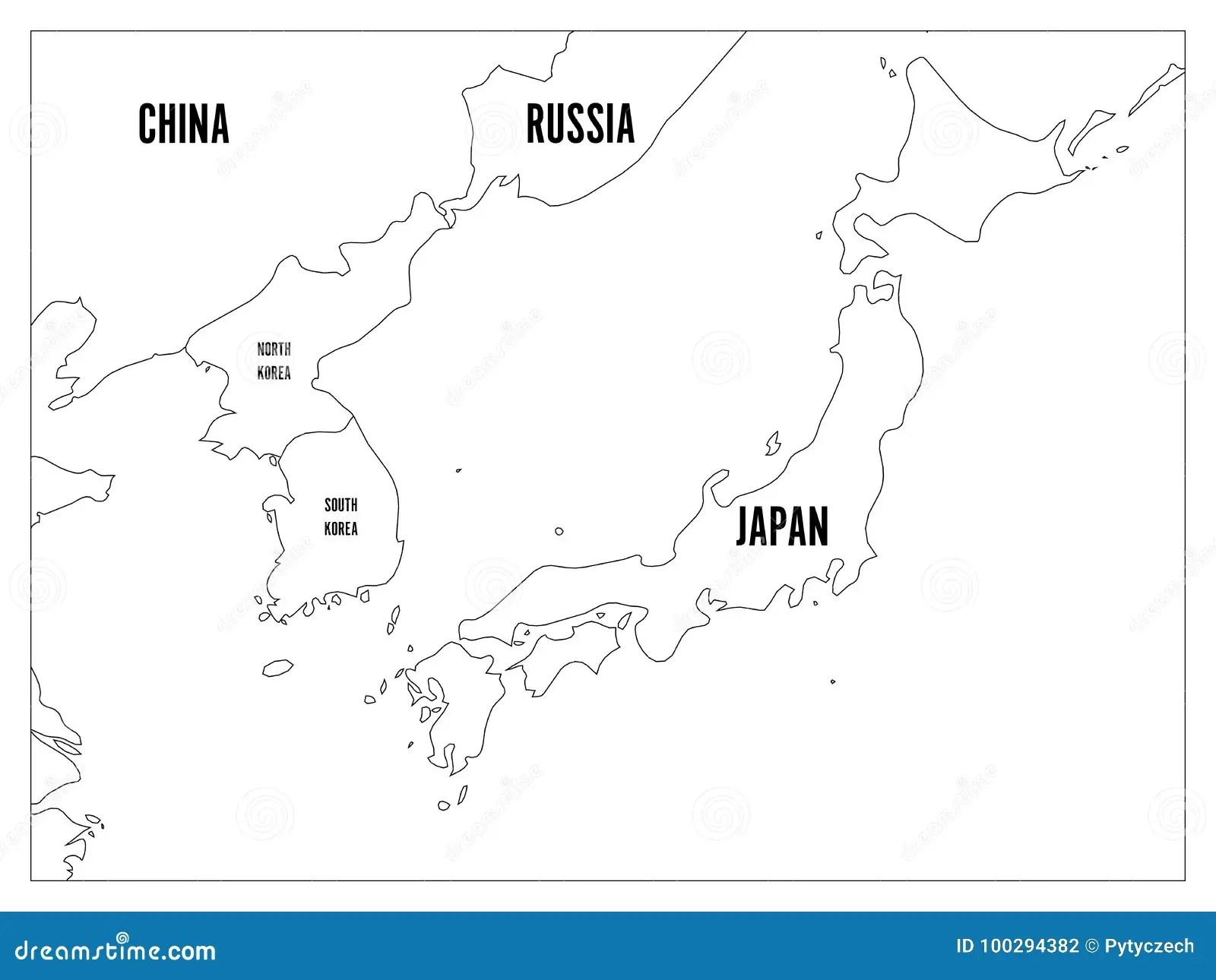 Political Map Of Korean And Japanese Region South Korea