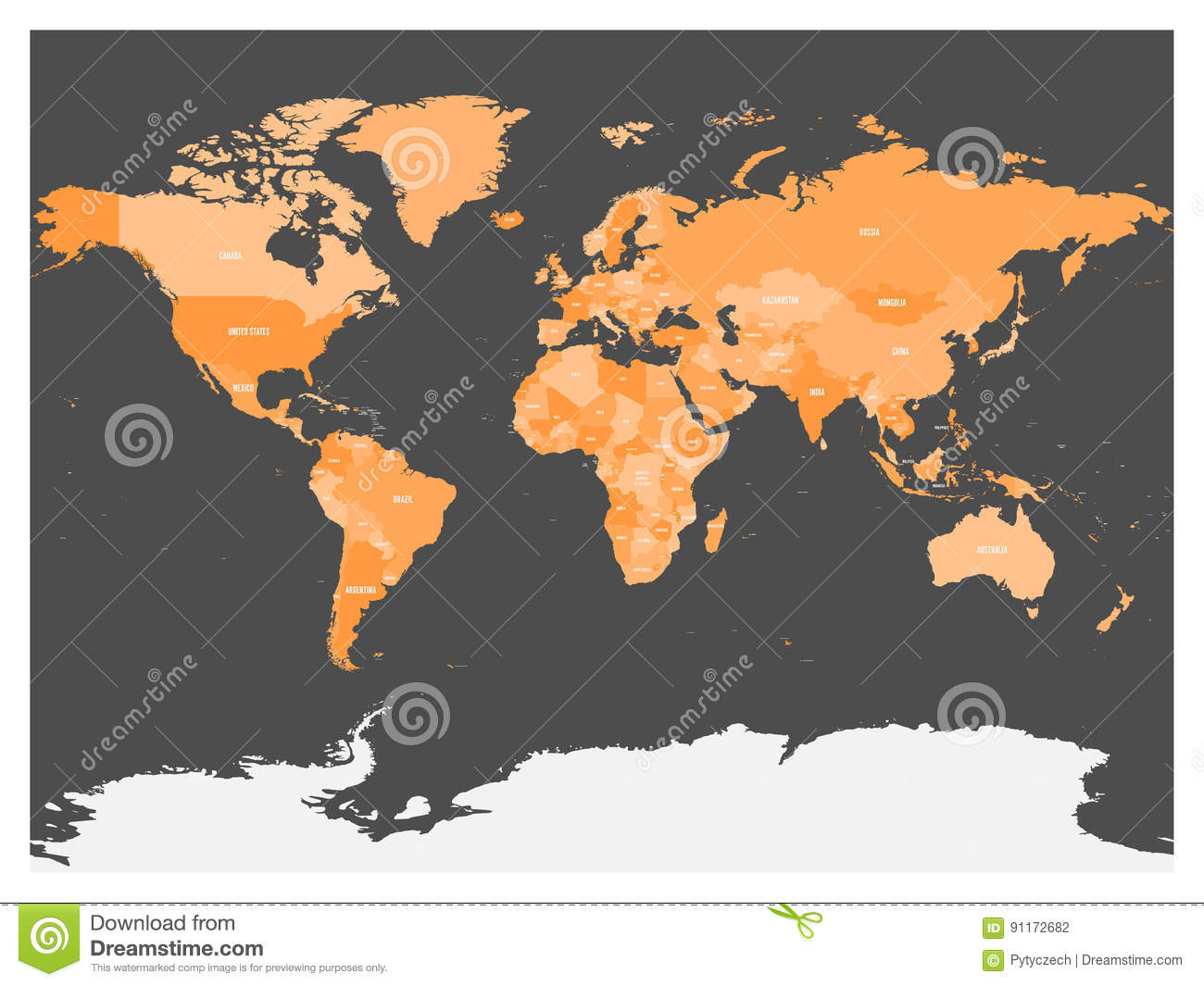 Political Map Of World With Antarctica. Countries In Four