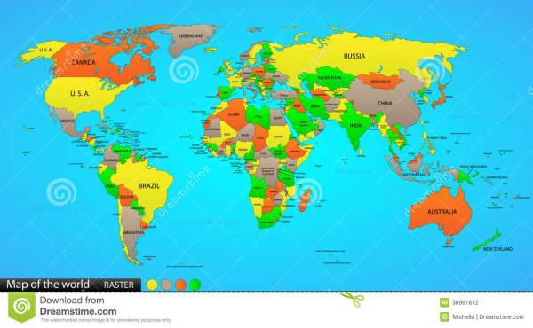 Political map of the world stock vector Illustration of