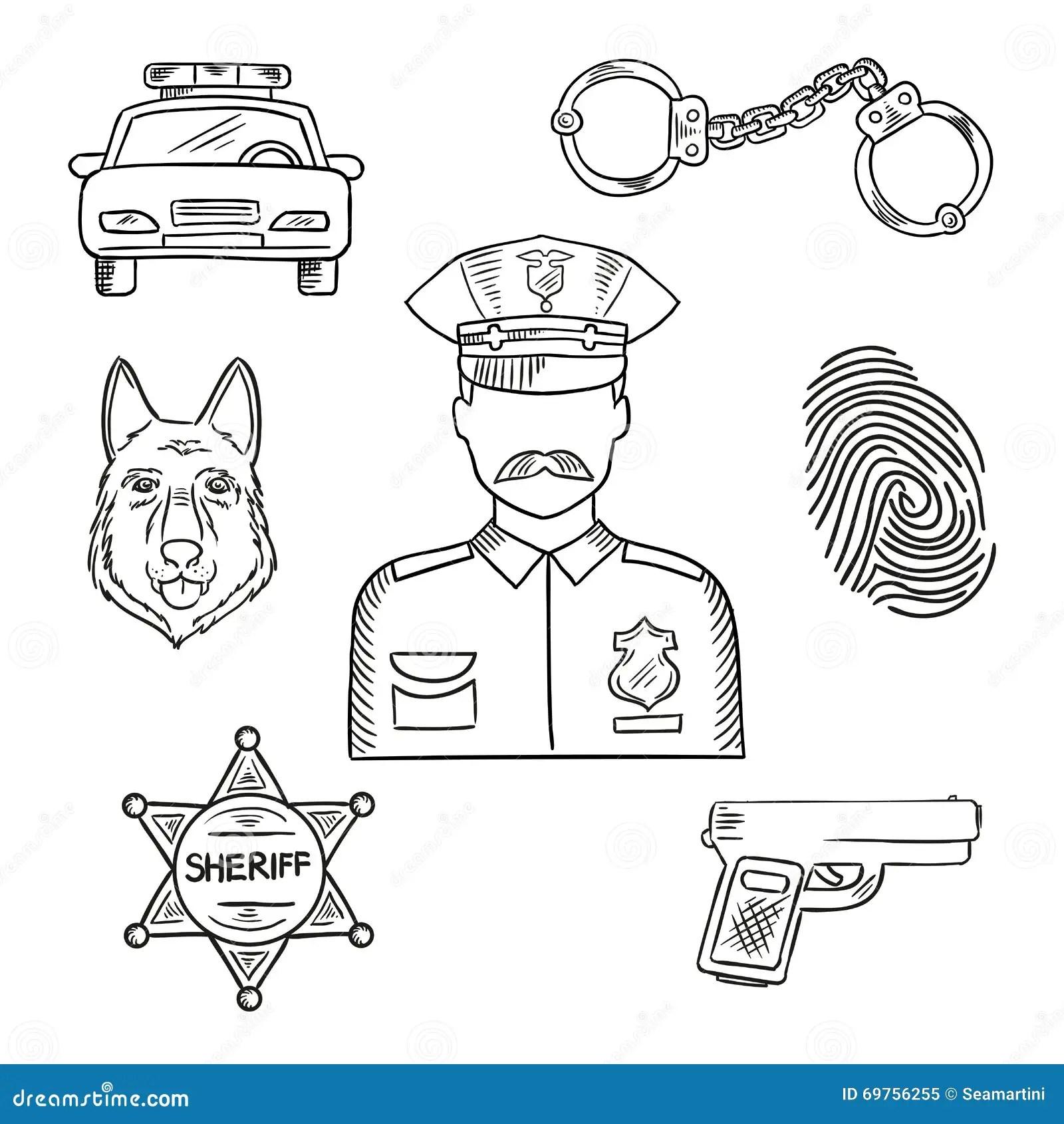 Politieman Of Politieagent Het Pictogram Van De