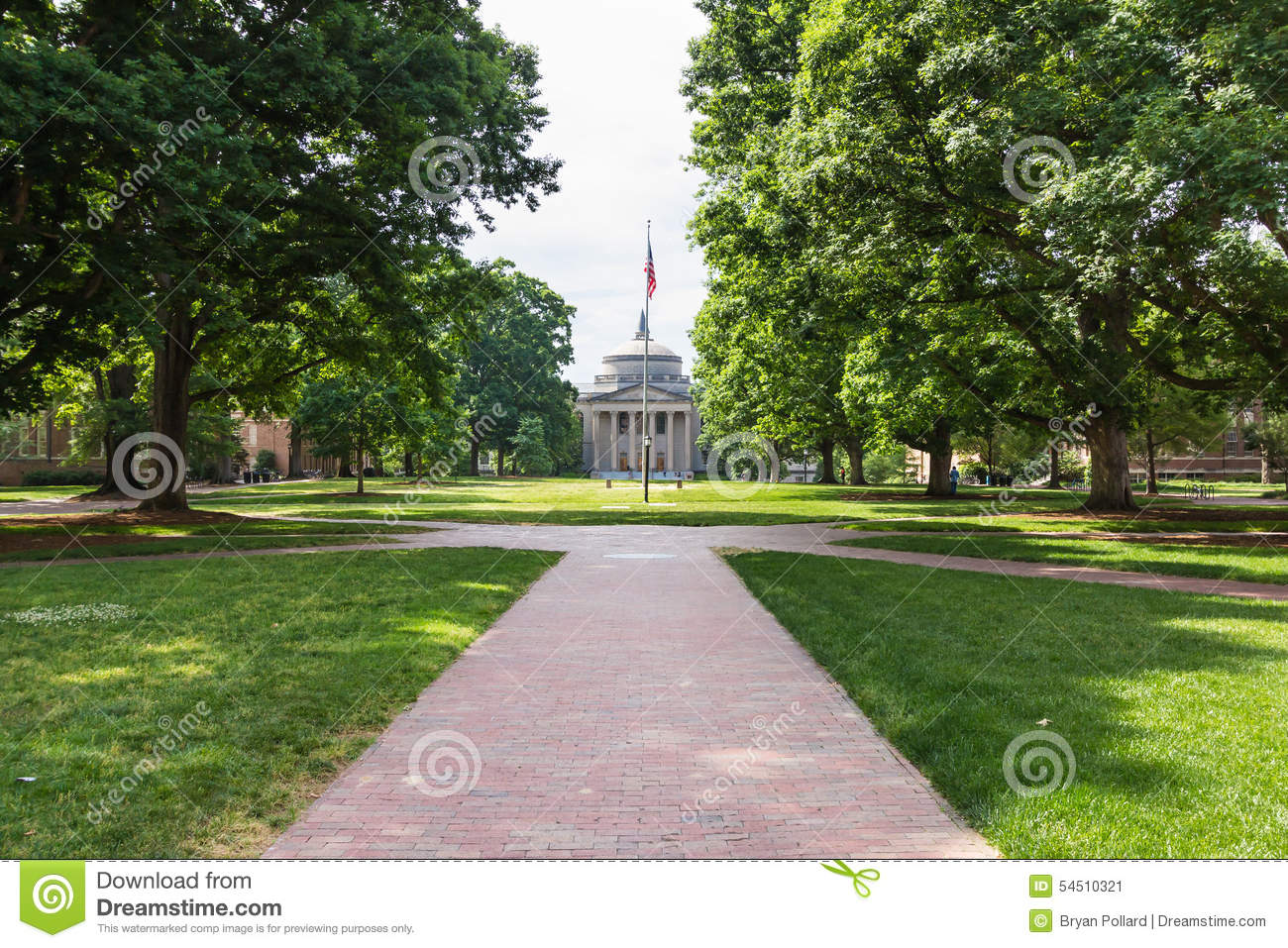 Polk Place And Wilson Library At Unc Chapel Hill Editorial
