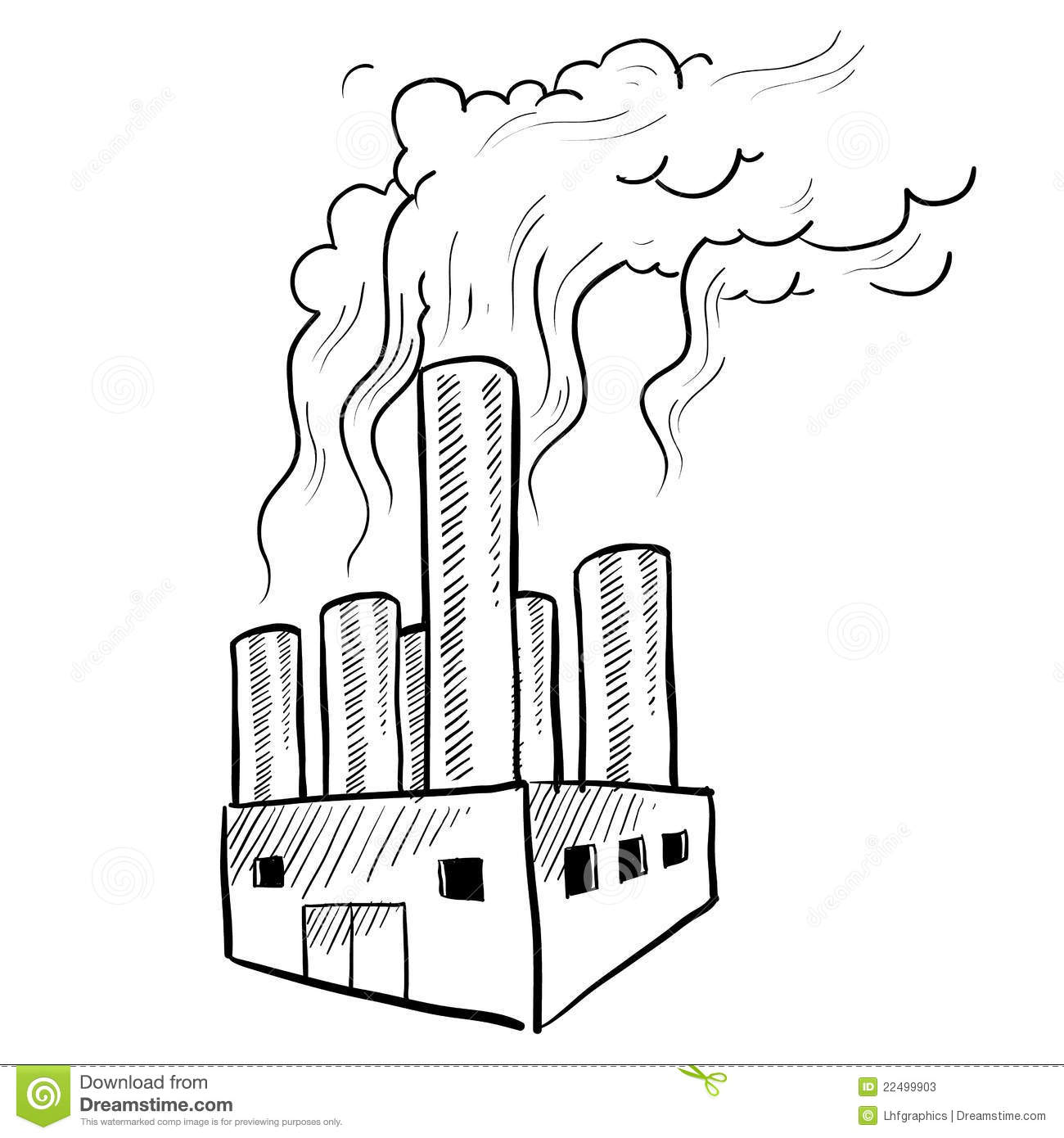 Polluting factory sketch stock vector. Image of warming