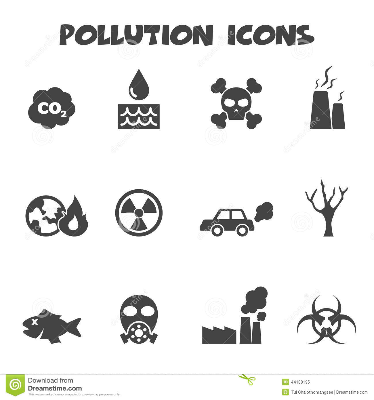 Pollution Icons Stock Vector Illustration Of Industrial