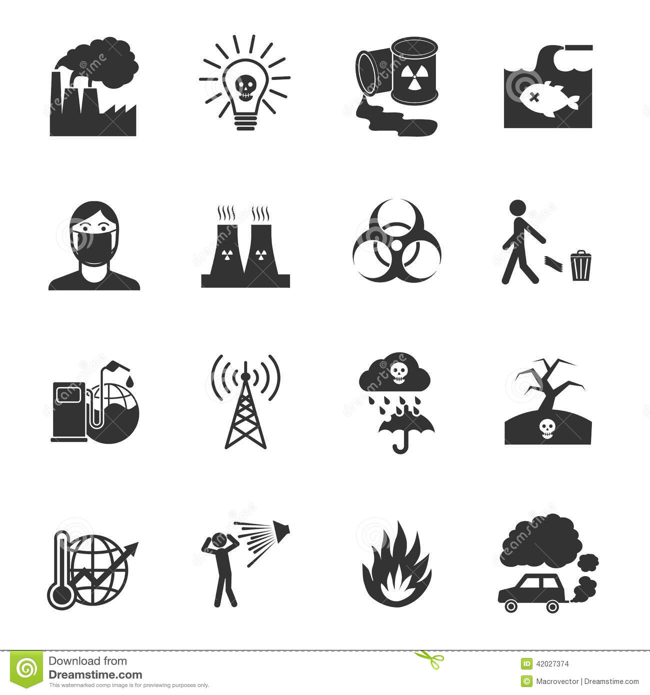 Pollution Icons Set Stock Vector
