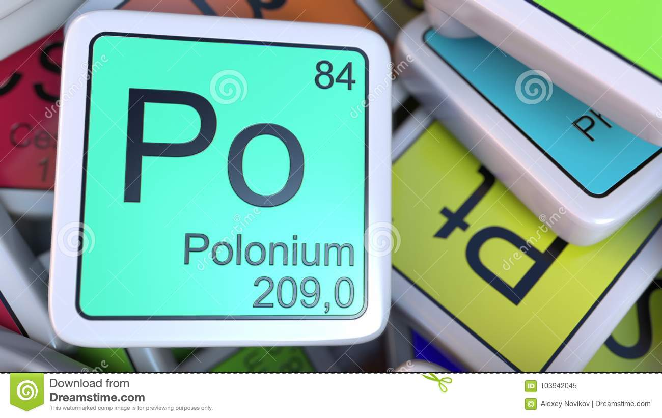 hight resolution of polonium po block on the pile of periodic table of the chemical elements blocks 3d